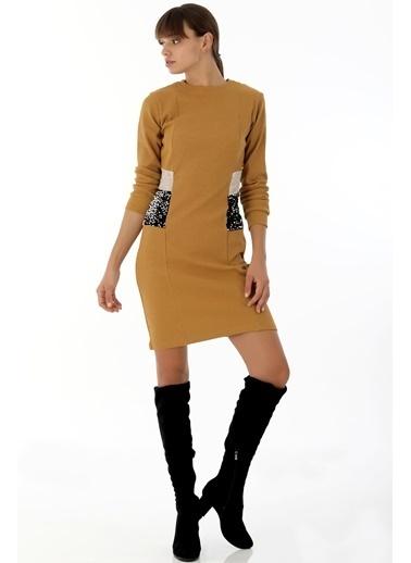 Emjey Yanları Pul Paletli Midi Boy Elbise Hardal